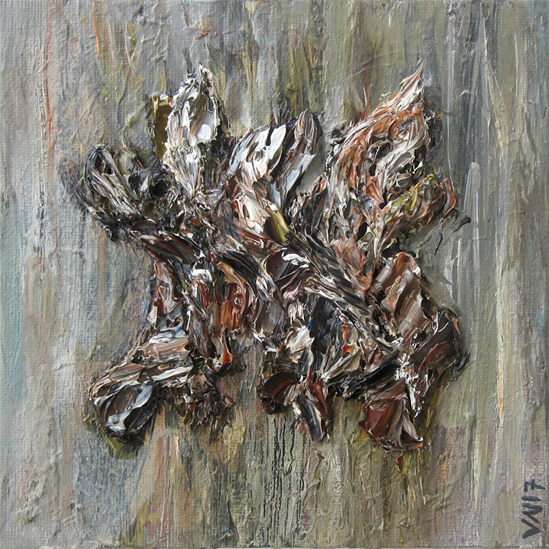 Bark Stump on Olive, browns, earthy, olive, grey, bark, texture, organic, flow, movement, strokes, treebark, float