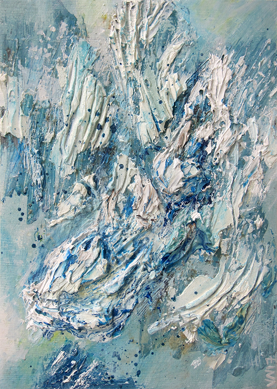 White Flurry on Blue,  white, blue, snow, flurry, movement, texture, surface, flow, marks, palette knife, action